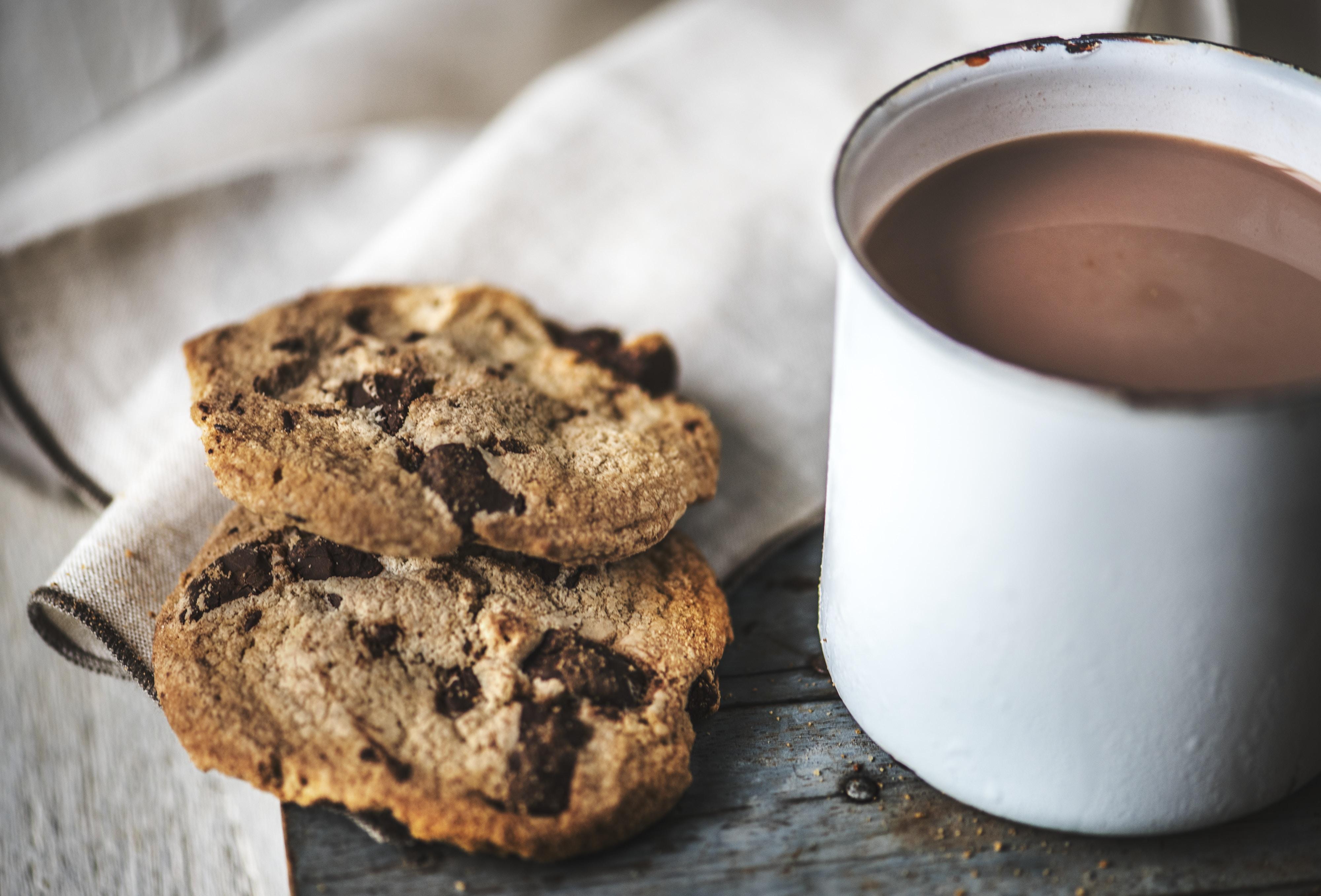 cookies beside white mug