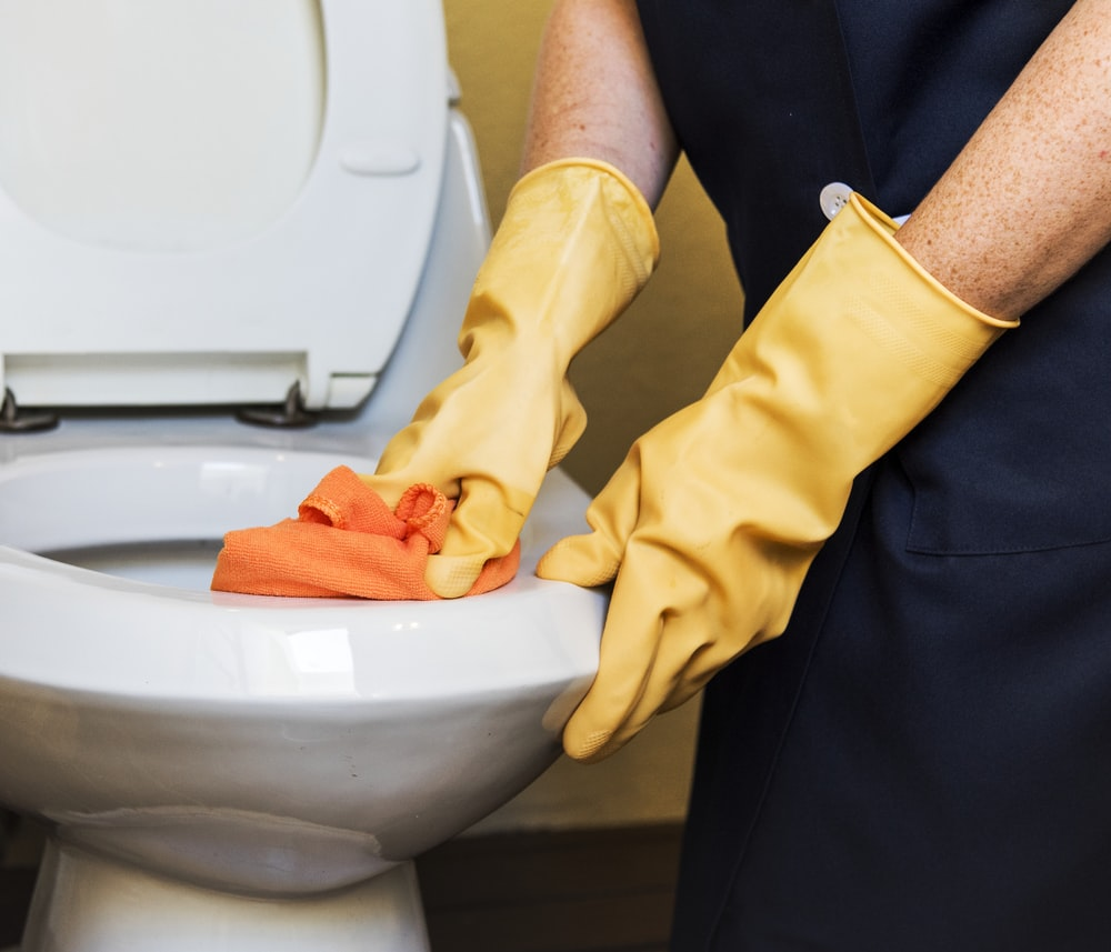 person wearing gloves cleaning toilet bowl
