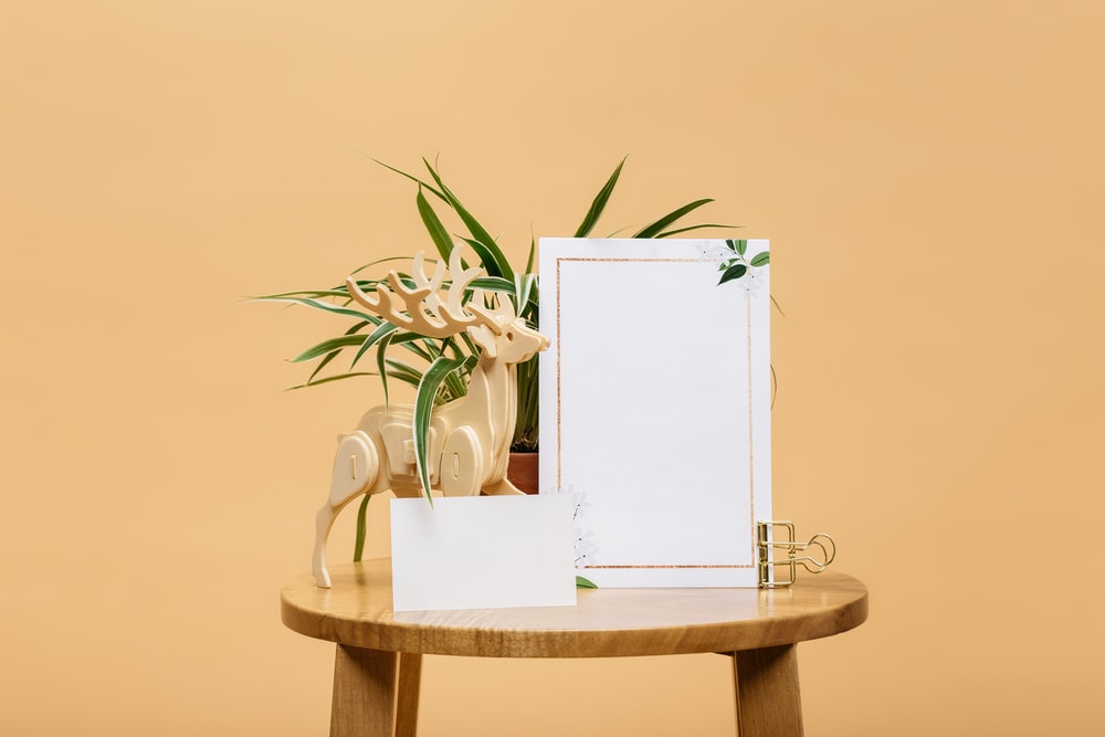 male deer buck 3D table decor beside empty photo frame on table