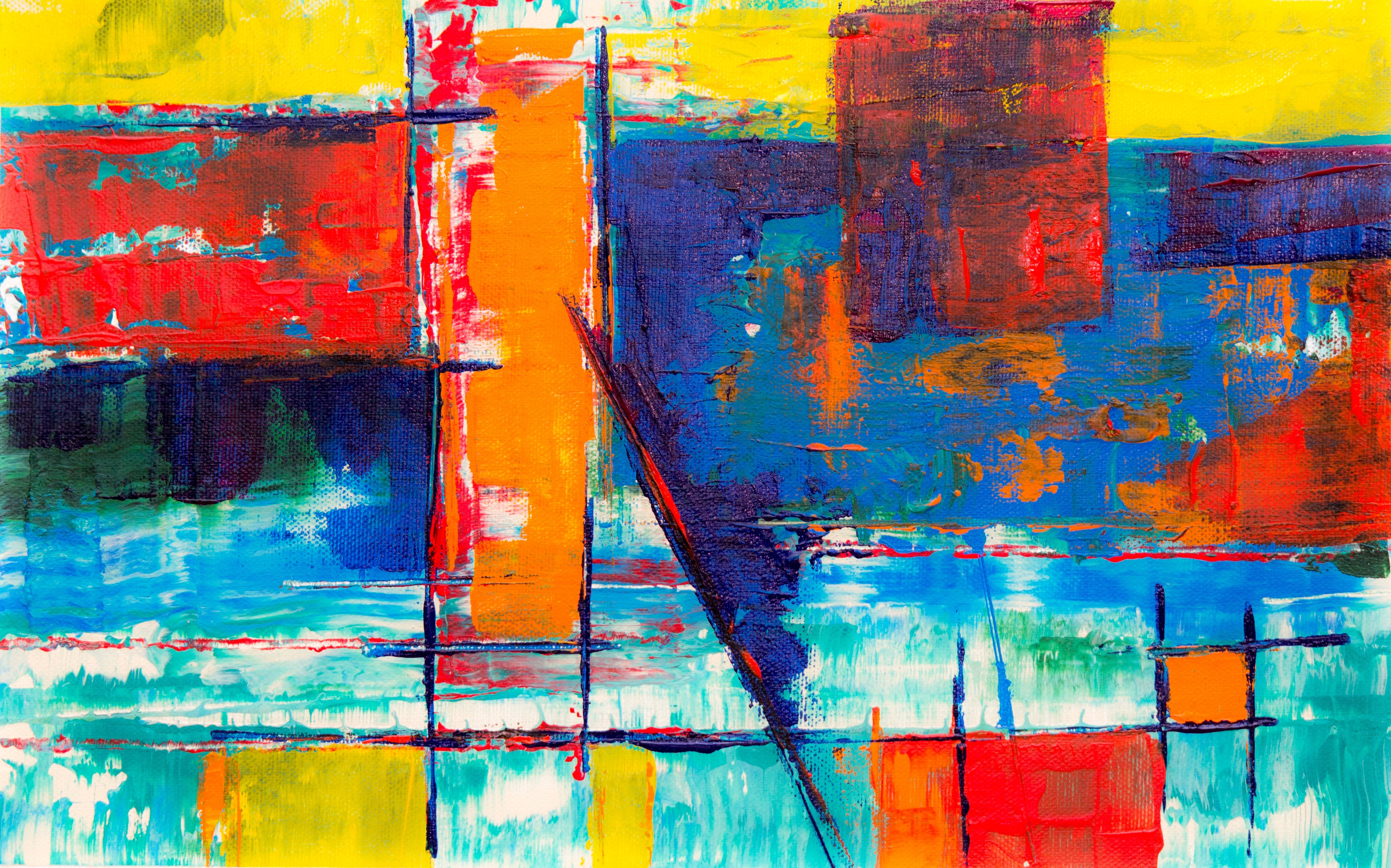 white and multicolored abstract painting