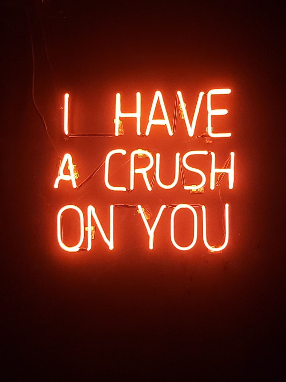 orange i have a crush on you neon light signage