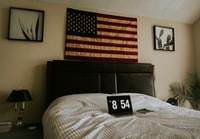flag of U.S.A. on wall
