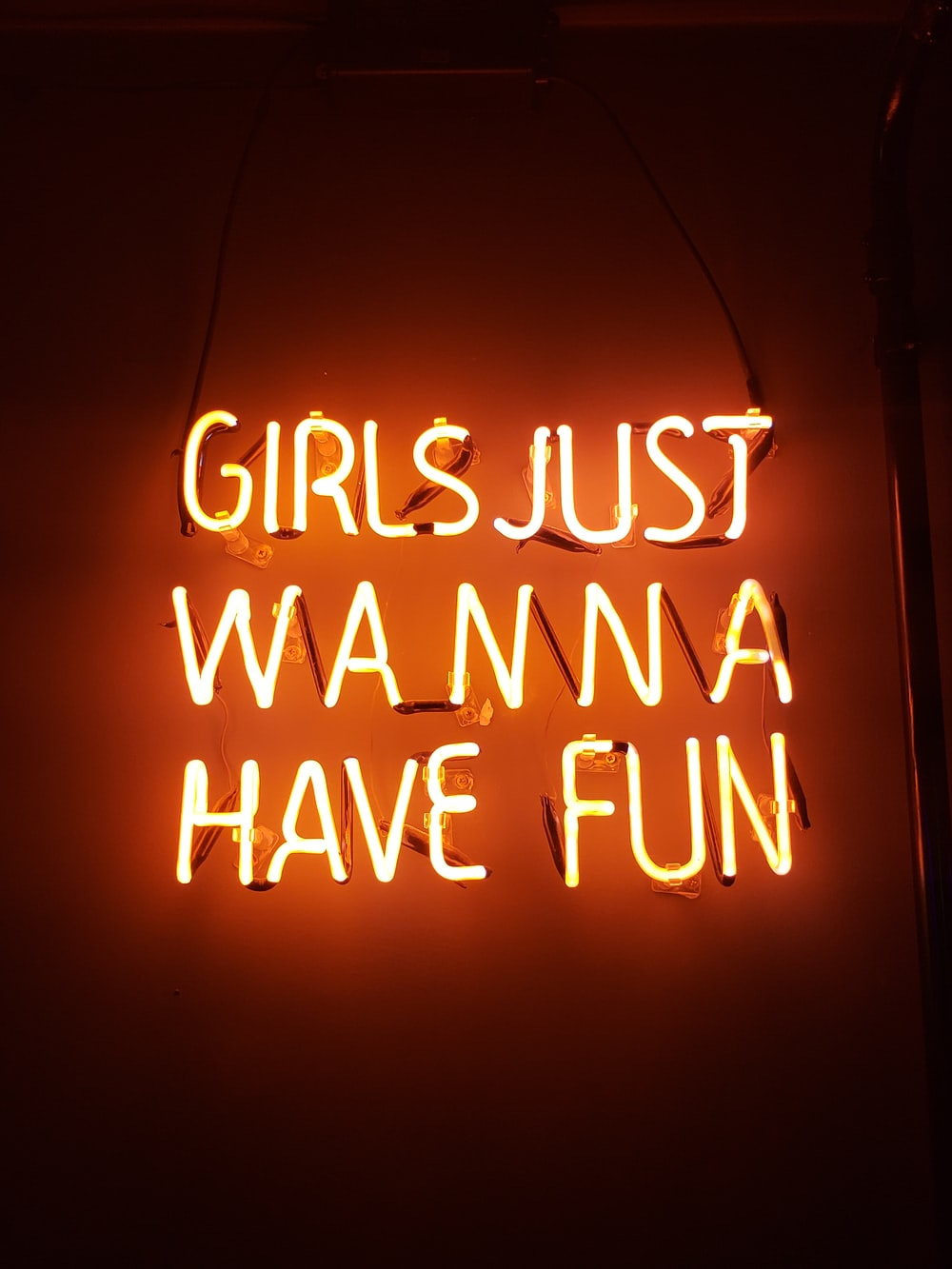 turned-on girls just wanna have fun neon signage