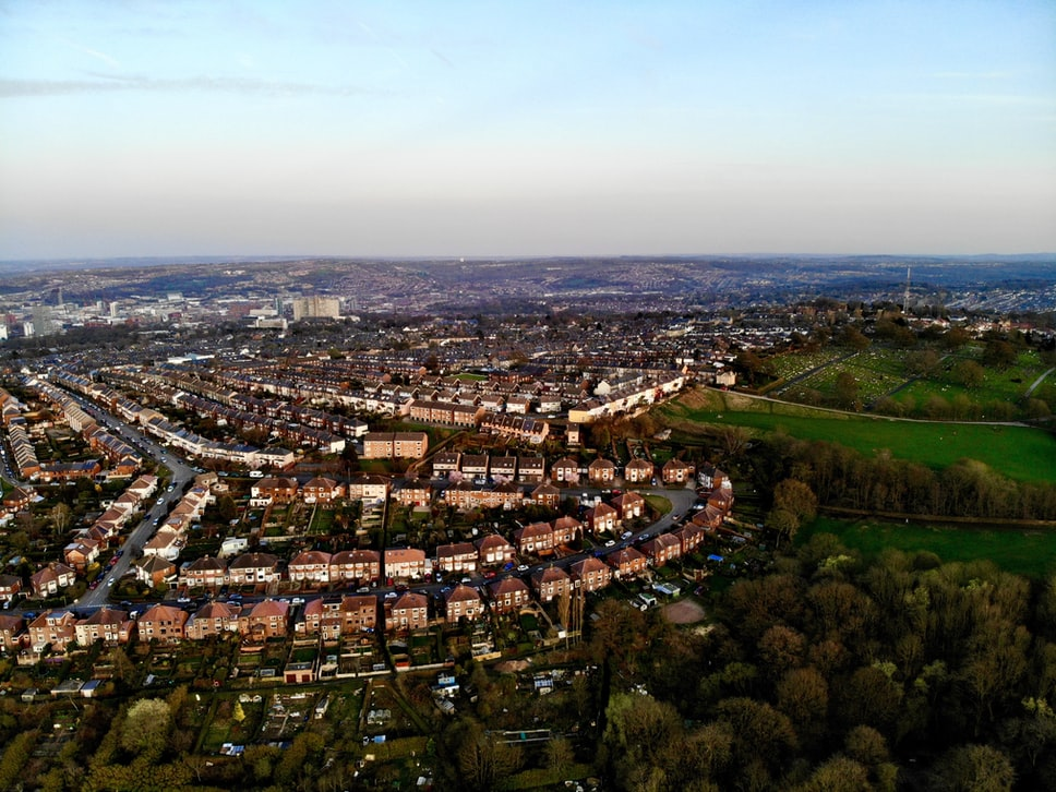 Drone view of attractions in Sheffield