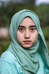 selective focus photo of woman wearing hijab scarf