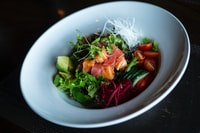 vegetable salad on round white plate
