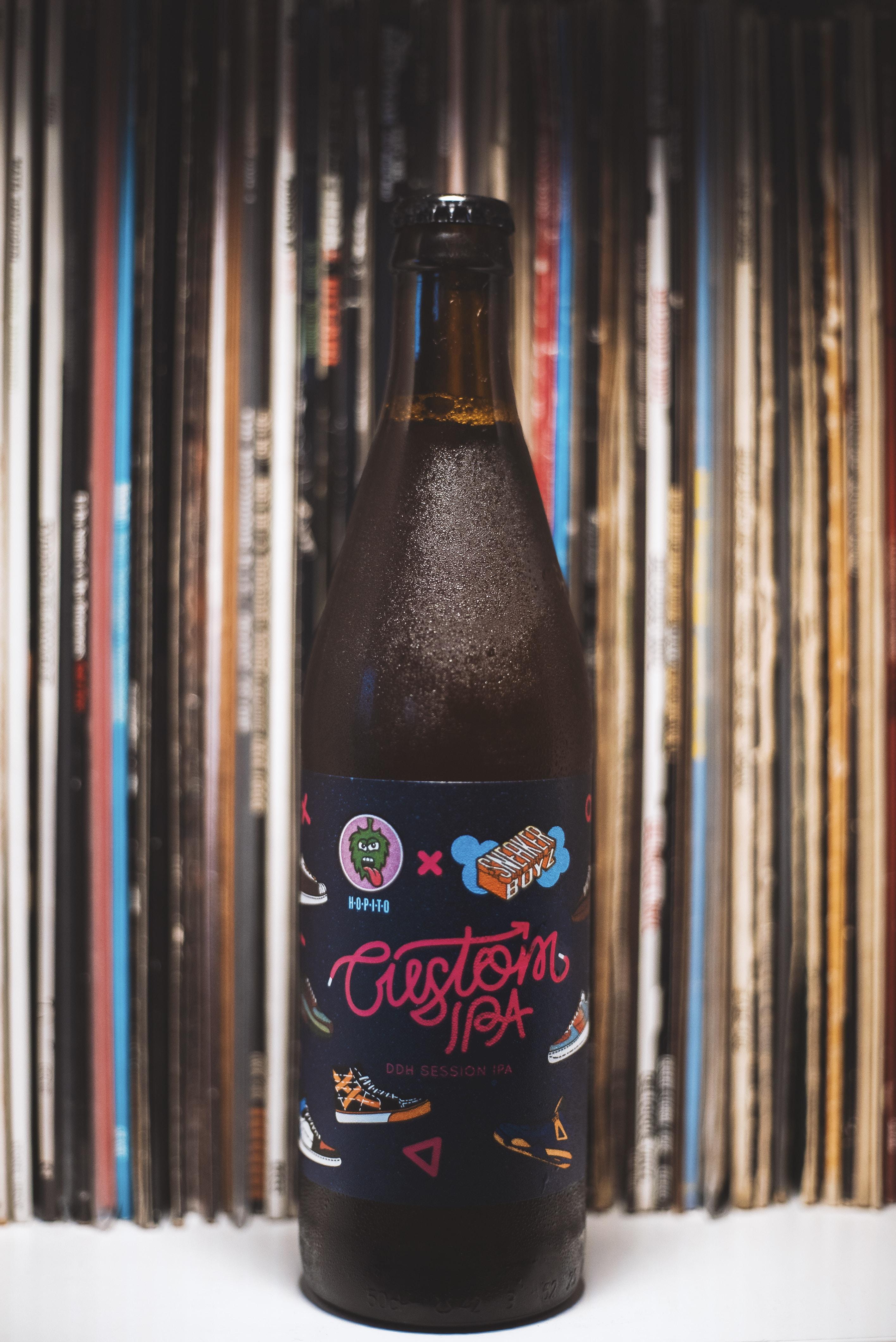Custom Ipa bottle on white surface