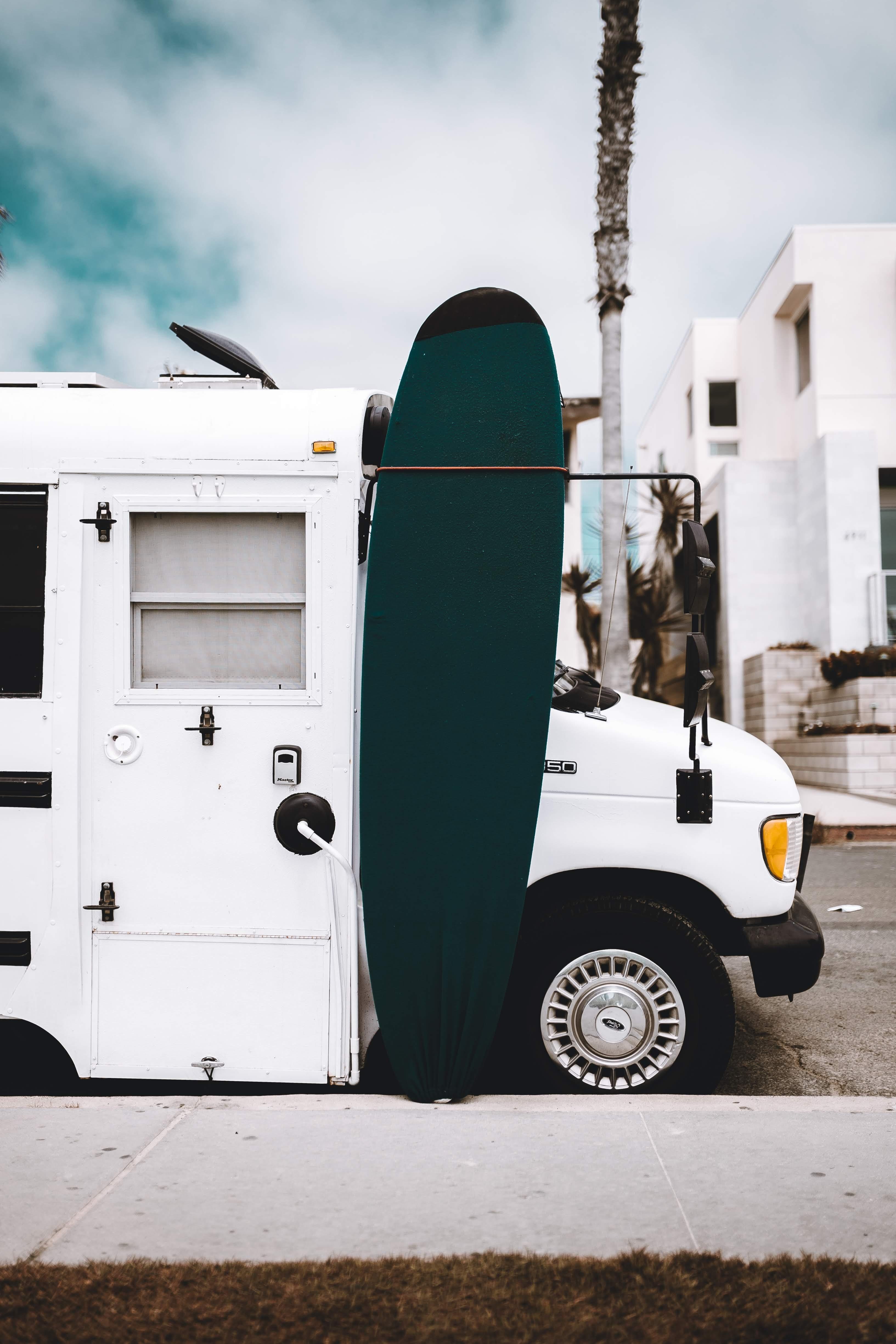 parked white vehicle