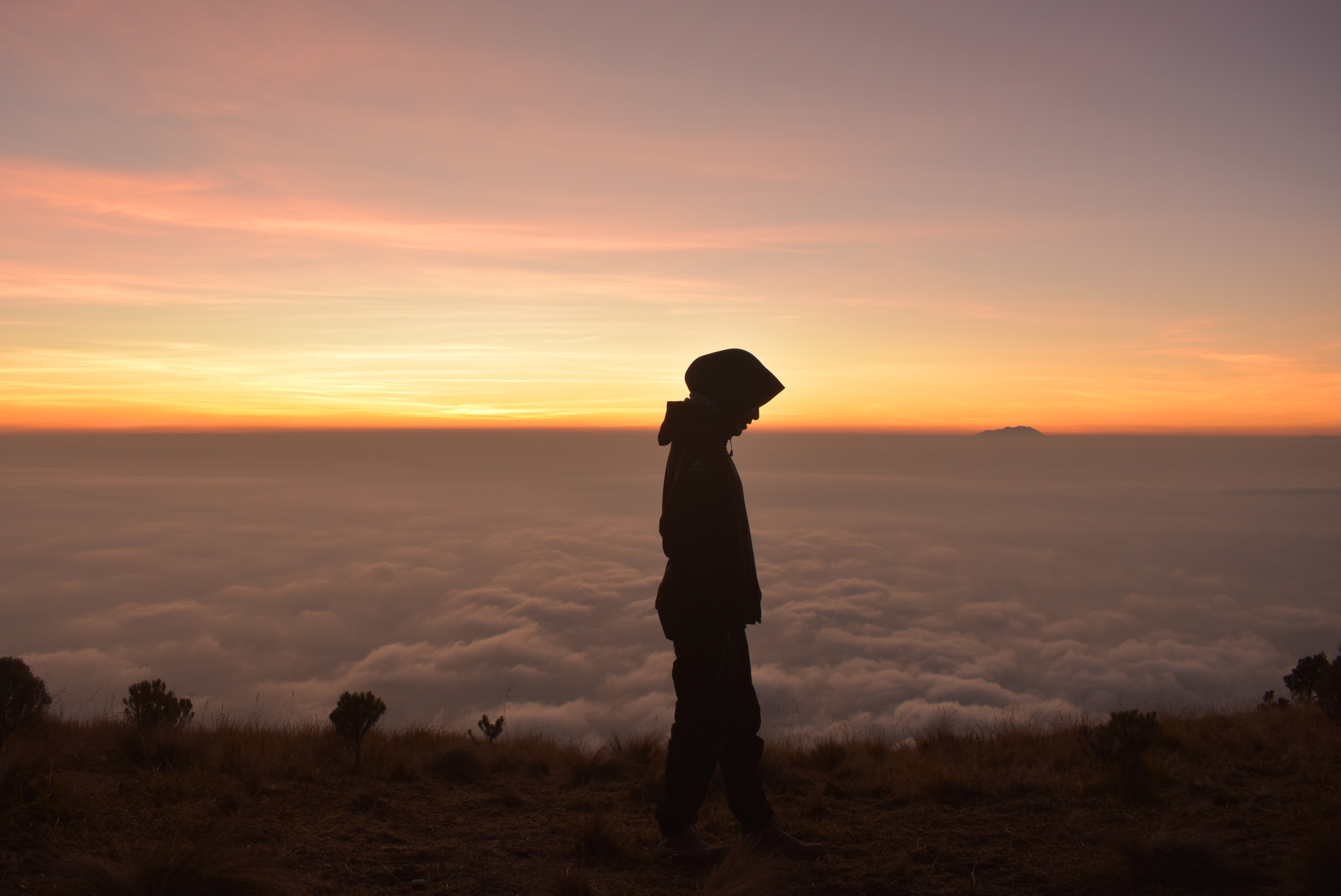silhouette of person wearing hoodie standing near cliff with clouds ahead during golden hour