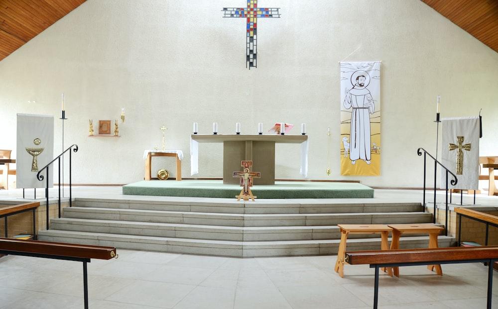 white alter church interior