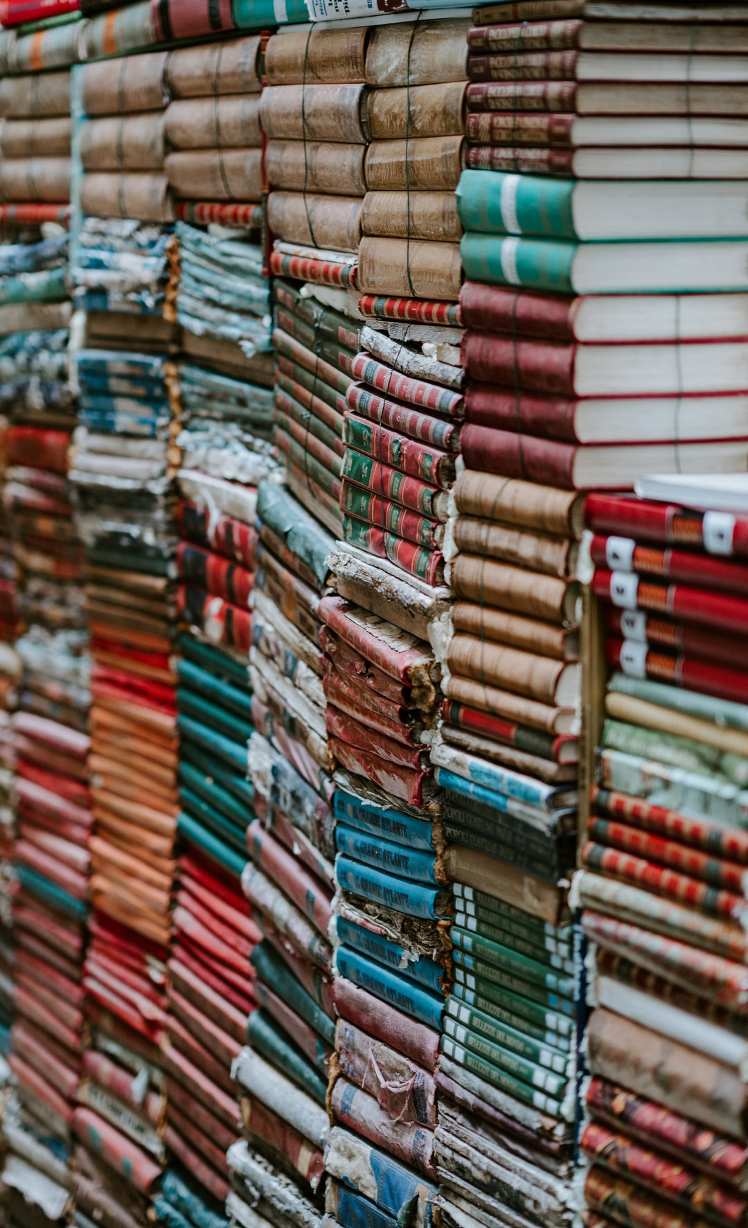Piles of old worn books