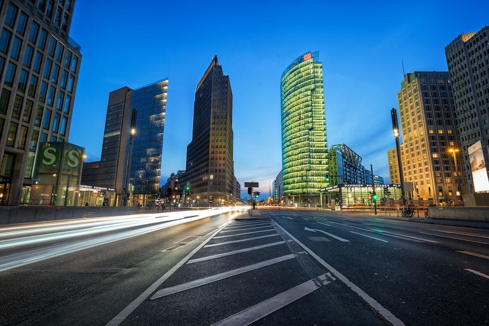 long exposure photo of high-rise buildings