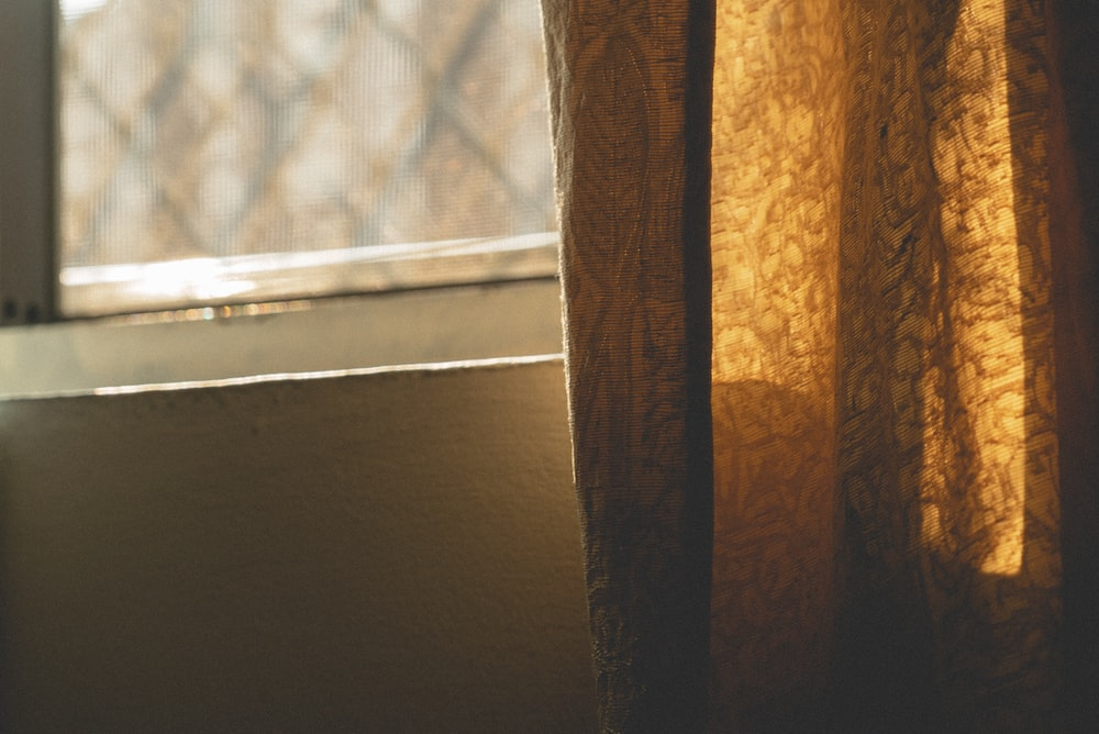 brown lace window curtain