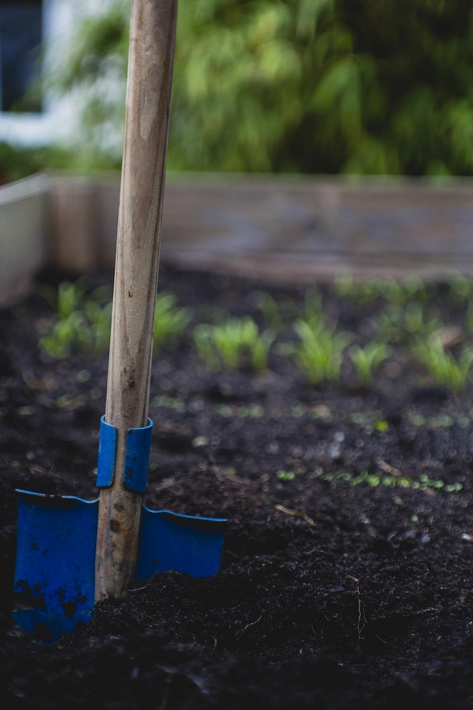 selective focus photo of shovel on sand