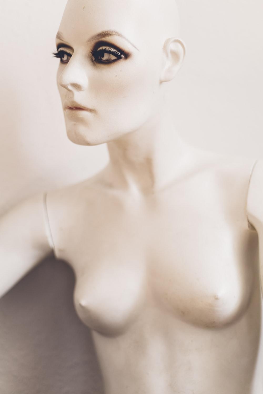 closeup photo of white female mannequin