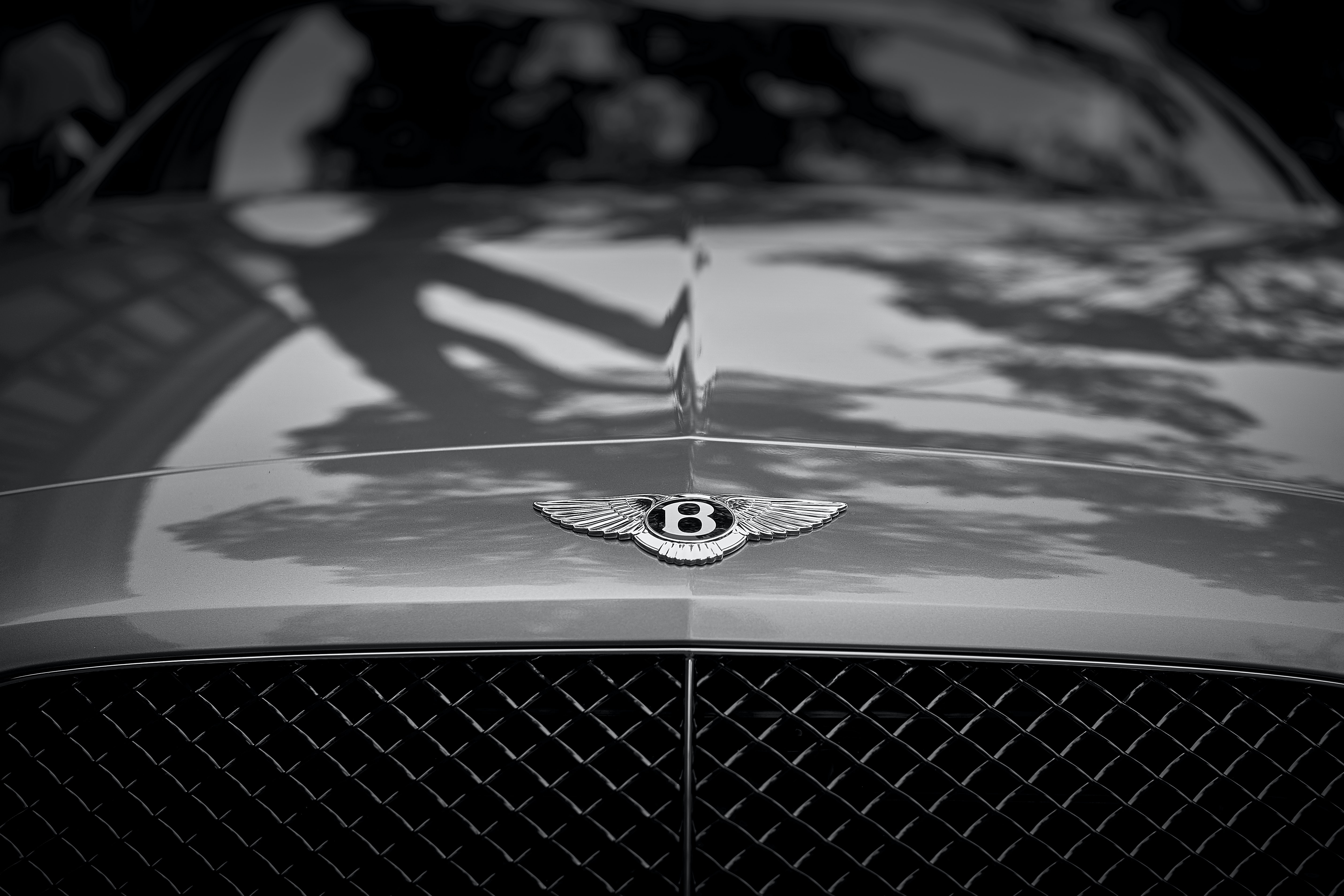 grayscale photo of car
