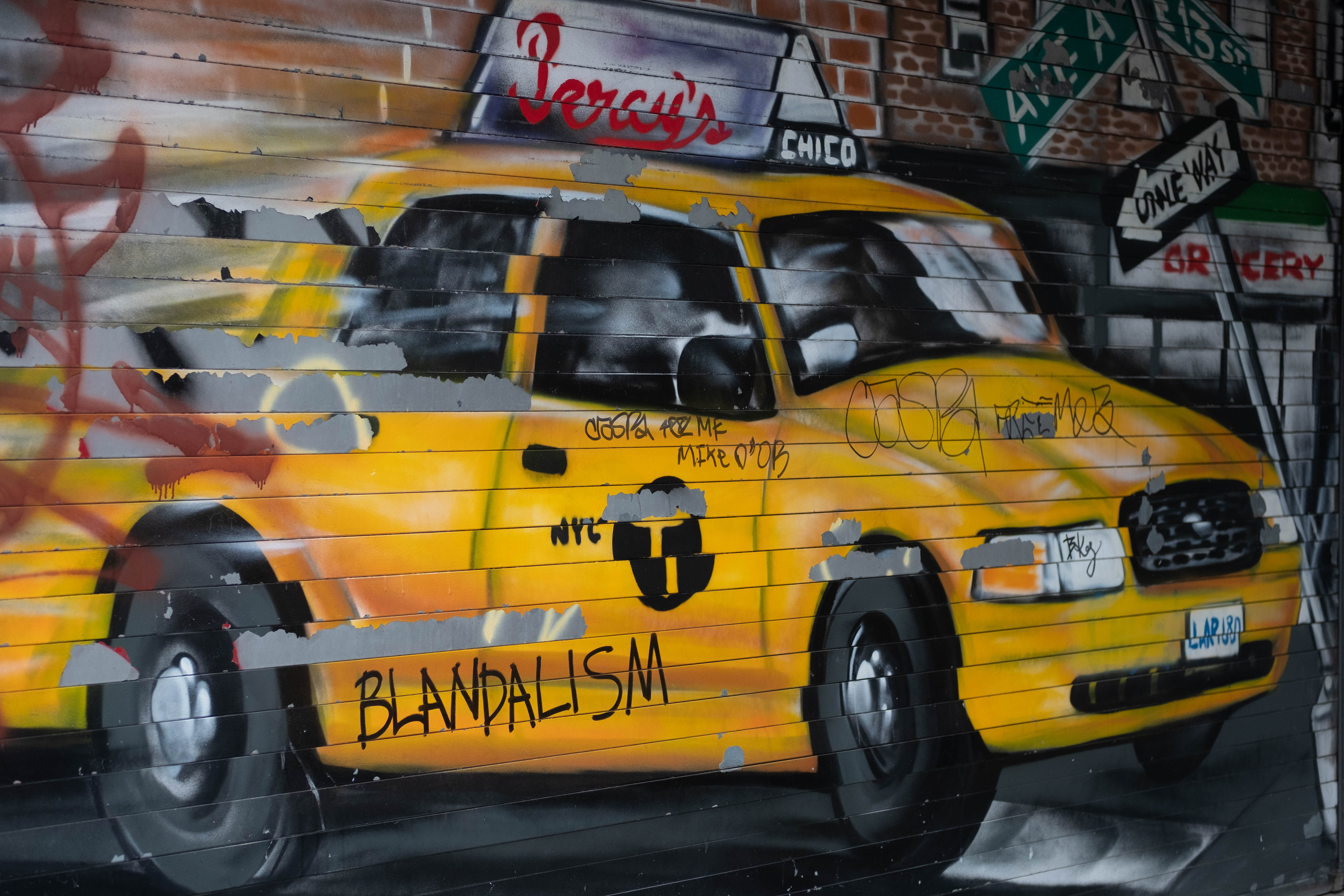 yellow taxi cab wall painting