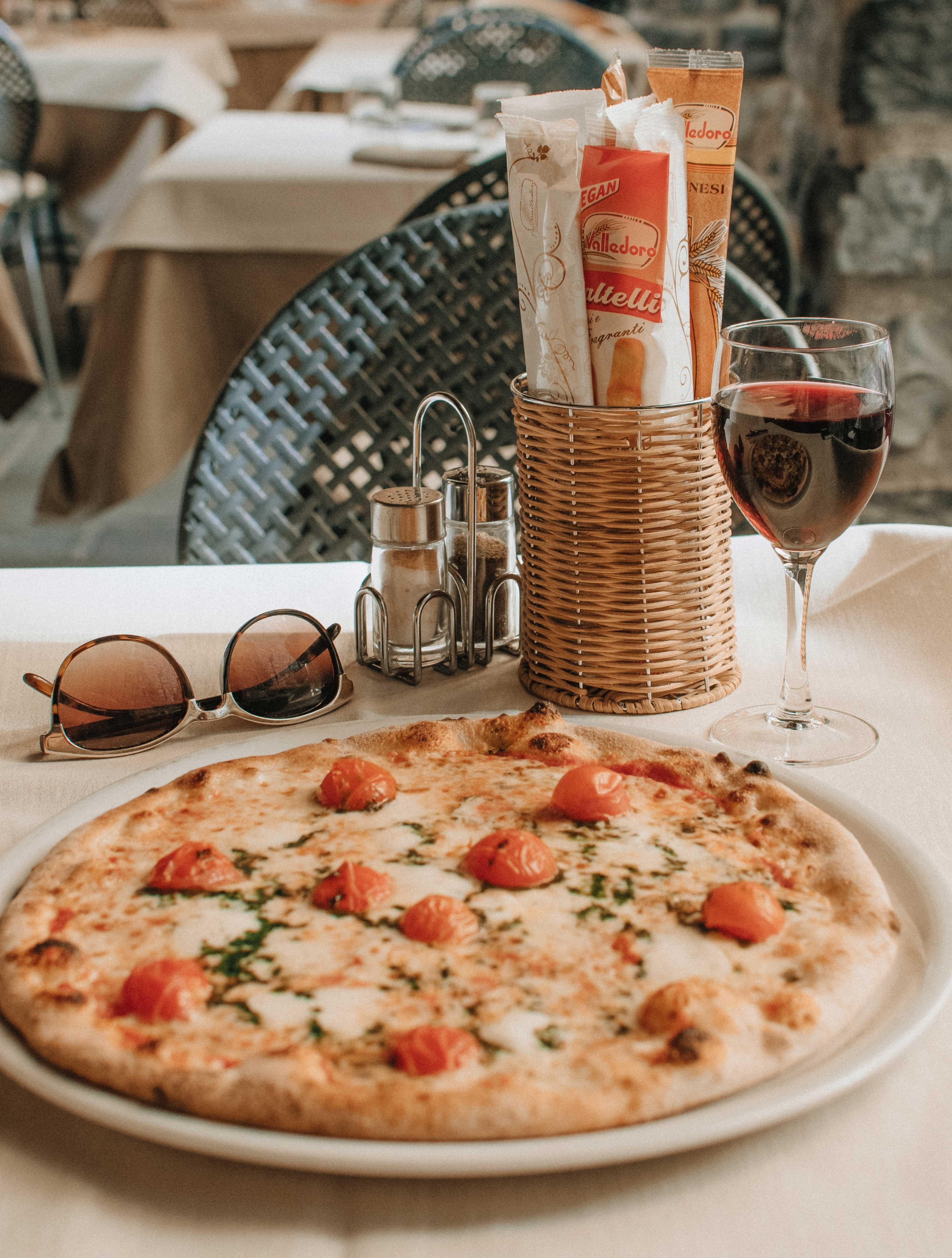 pizza on white tray