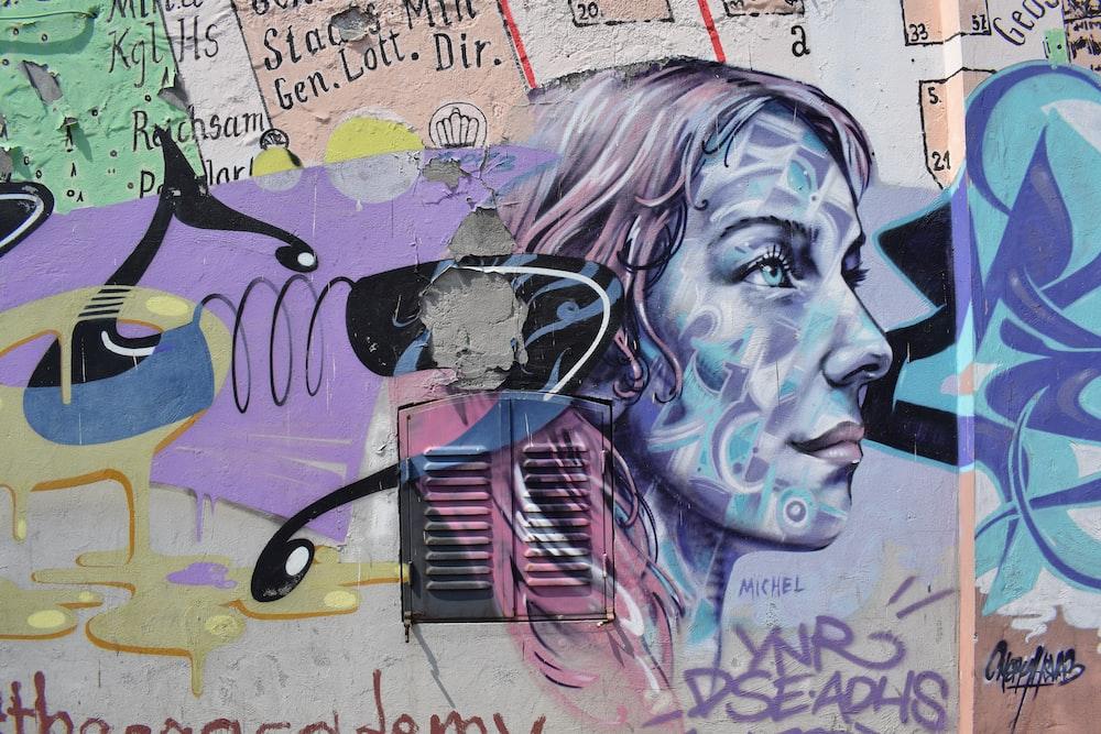 illustration of woman graffiti