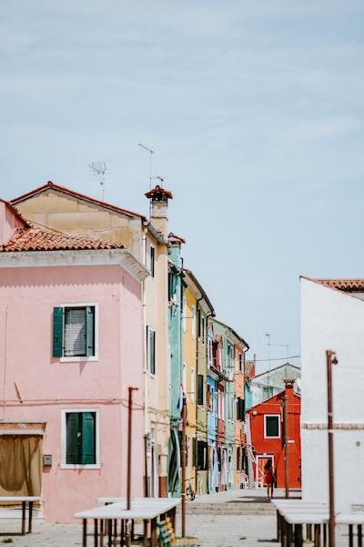 Colorful empty square in Burano