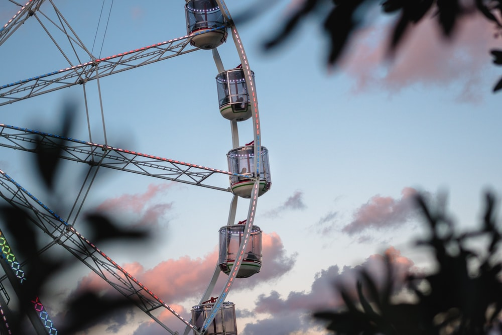 Ferris wheel under blue sky and white clouds at daytime