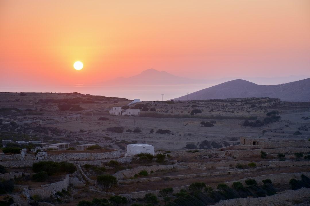 Sunrise over the sea near Folegandros