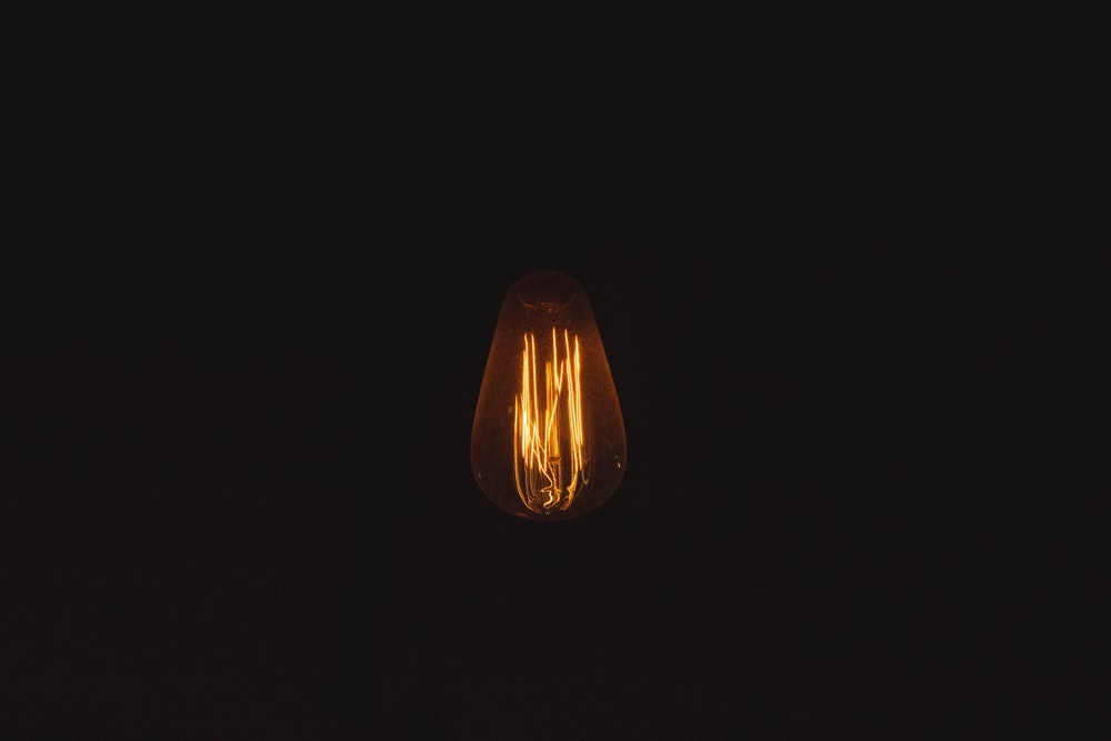 turned-on Edison bulb