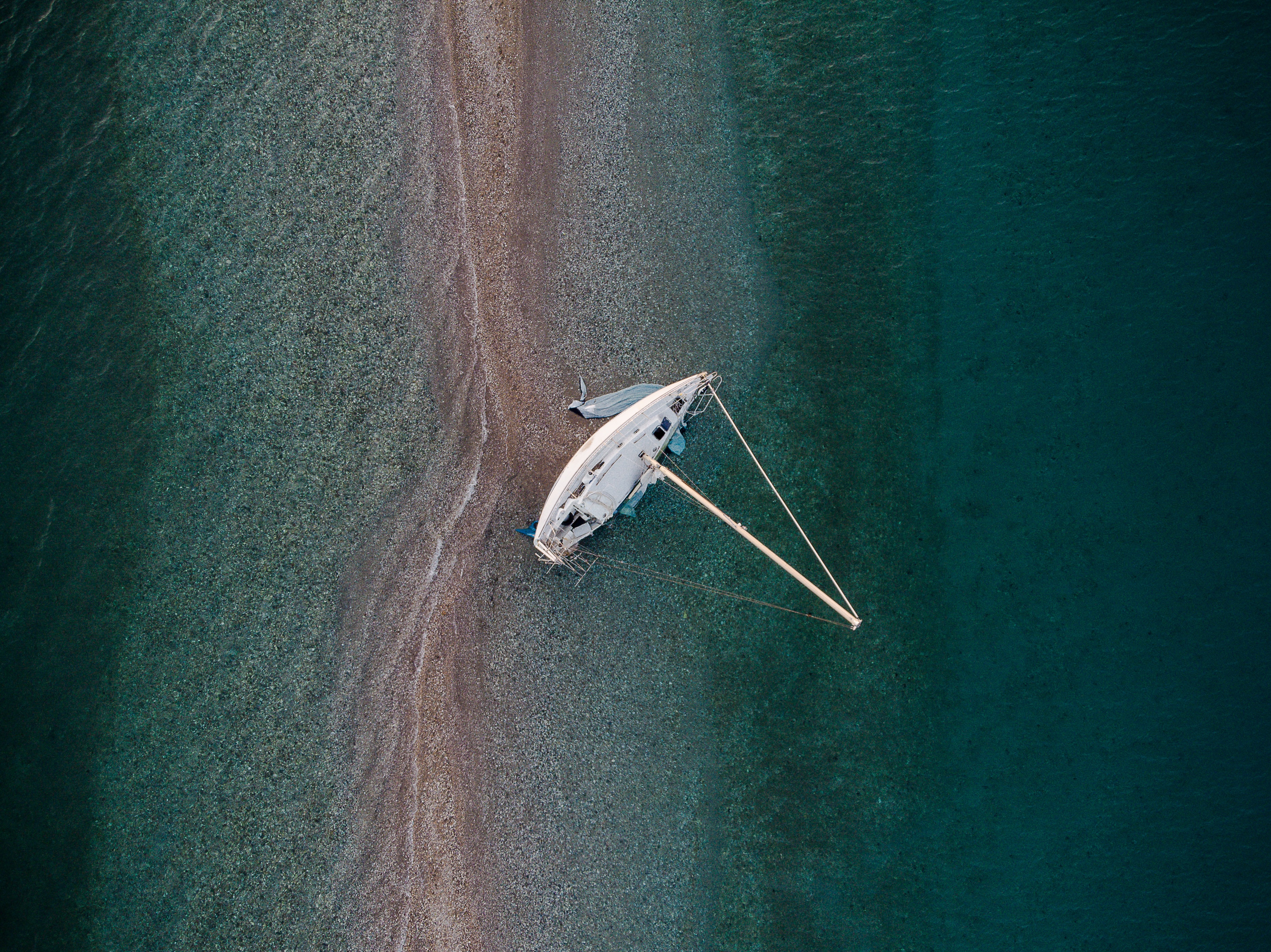 bird's-eye view photography of sail boat