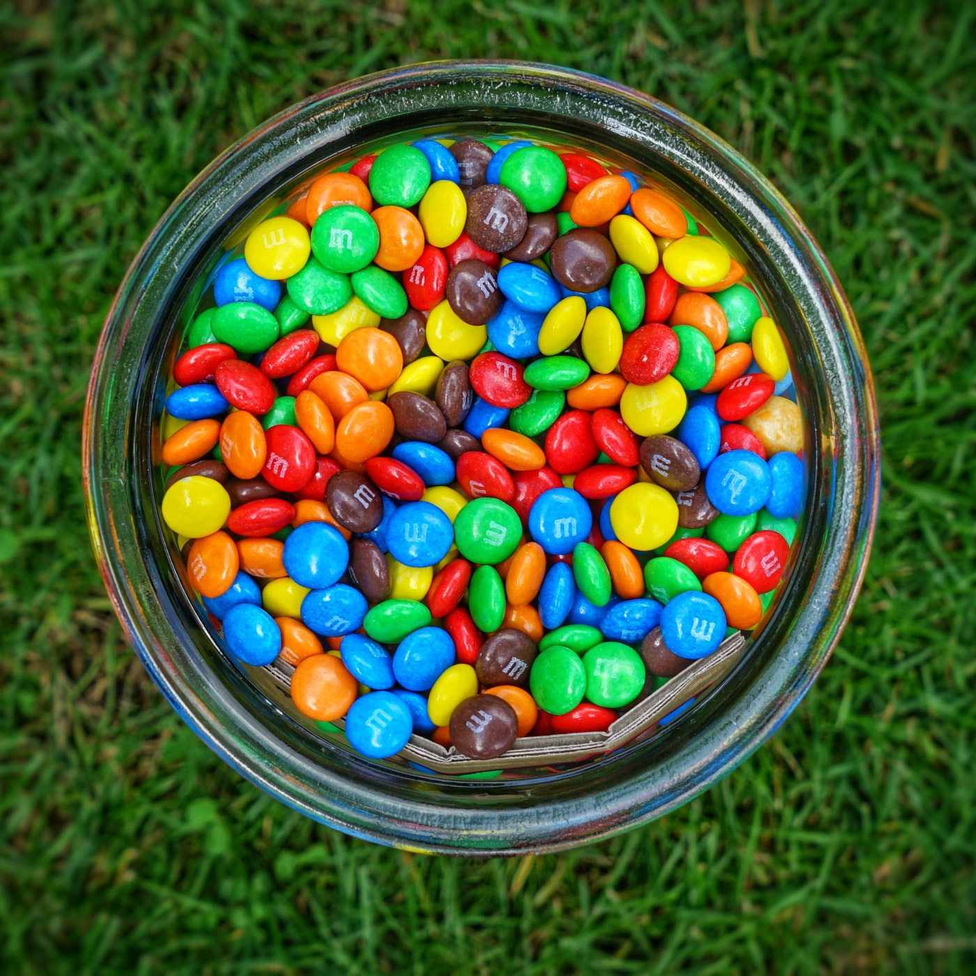 m&m chocolates in a glass jar