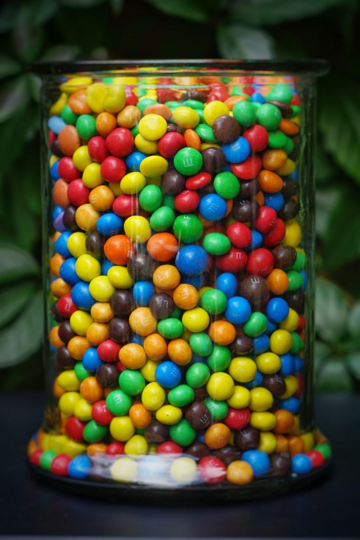 jar of M&M's coated chocolates