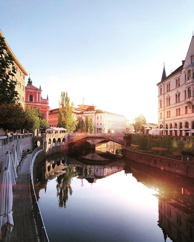 bridge on body of water near buildings