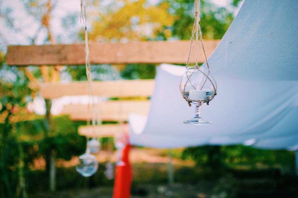 white lantern on ceiling