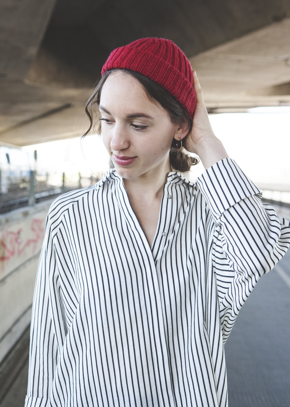 women's black and white pinstriped dress shirt