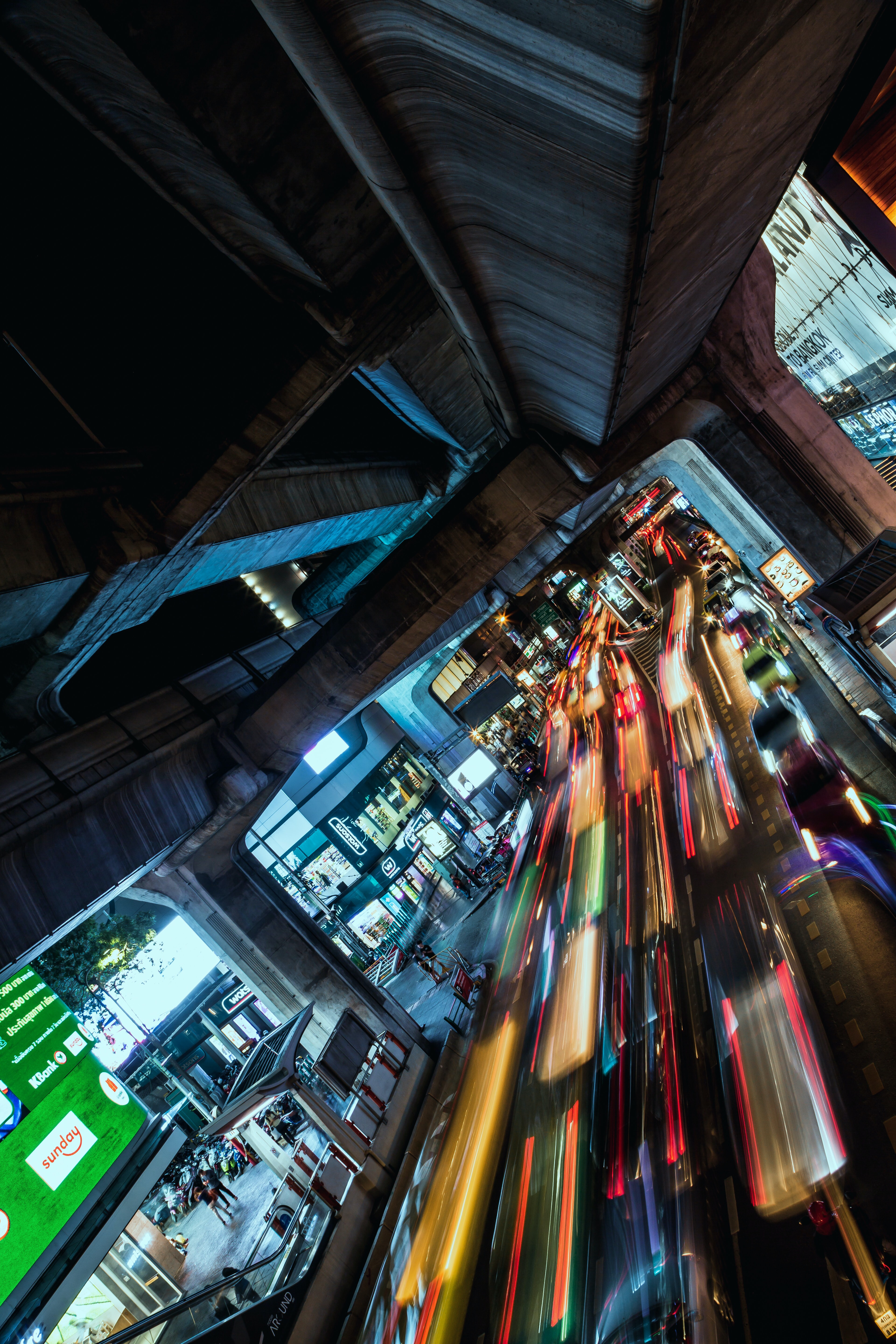 long exposure photography of cars on street