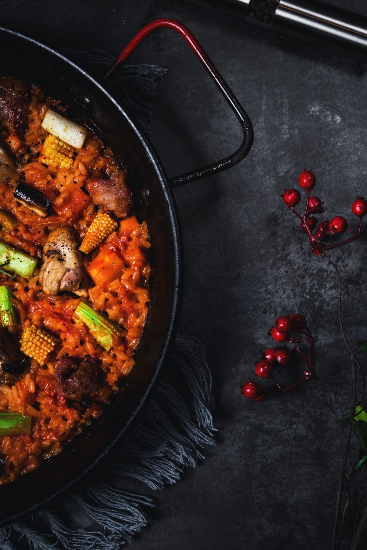 cooked food on wok