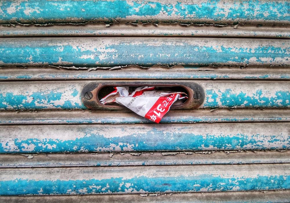 blue metal door shutter