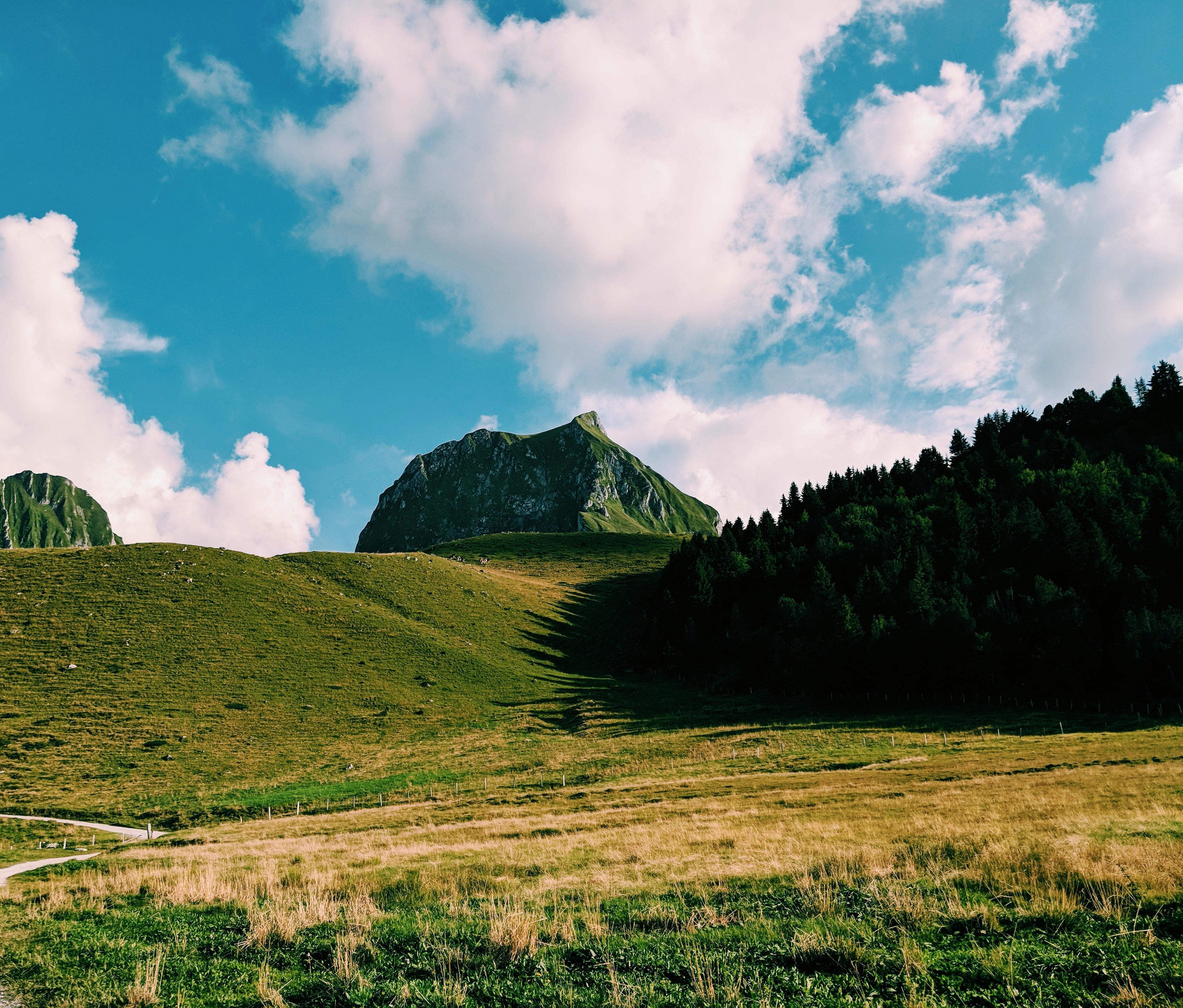 green grass mountain under blue sky during daytime