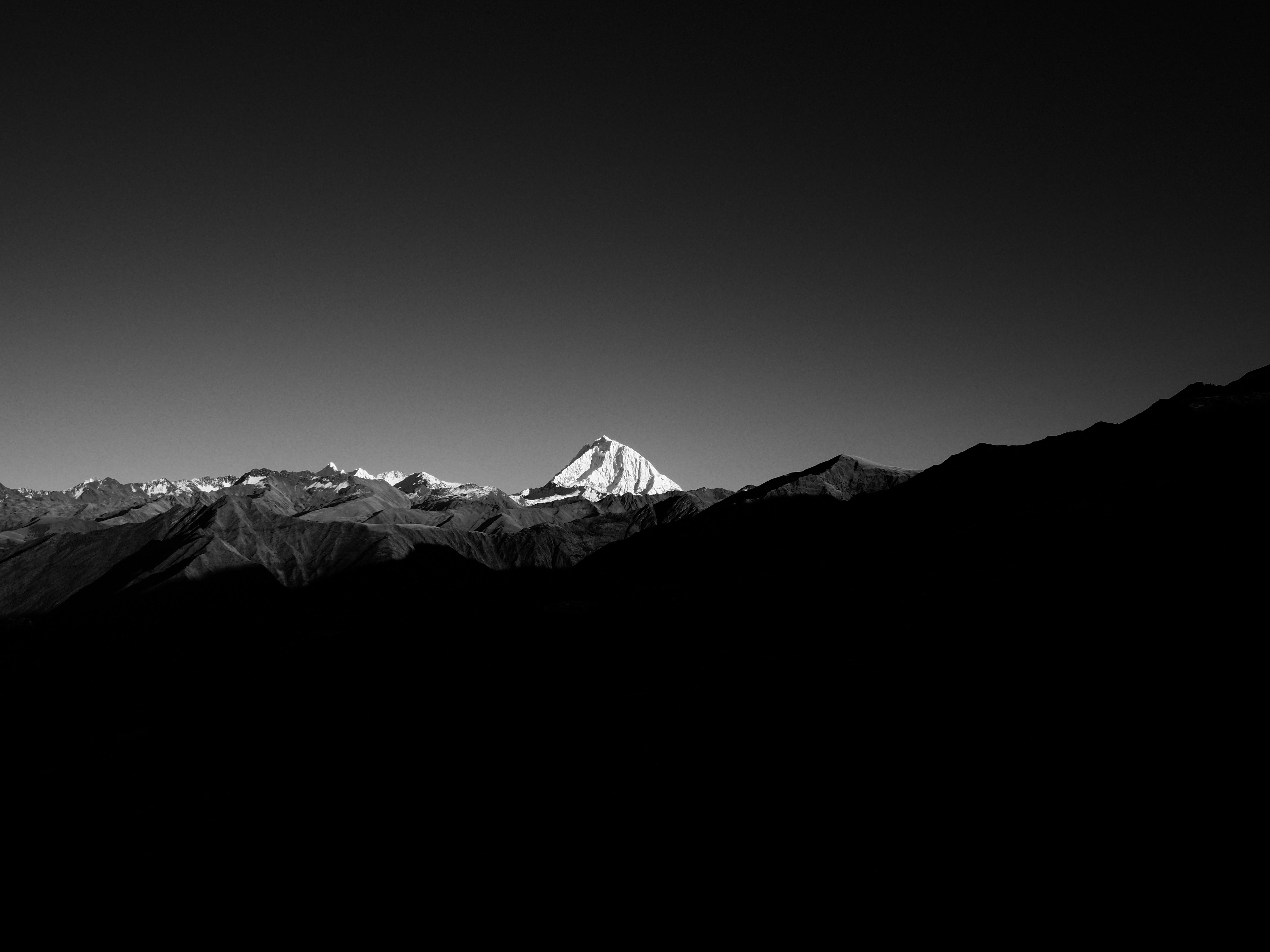 grayscale and panoramic photographies of snow capped mountain