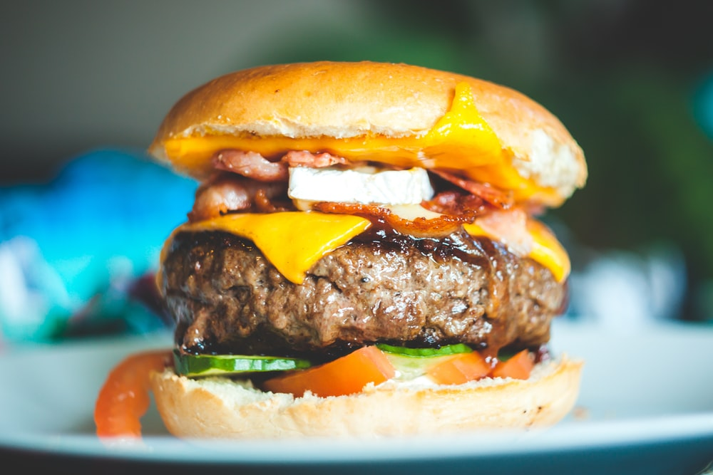 Close Up Photography Of Burger With Patty And Slice Cheese