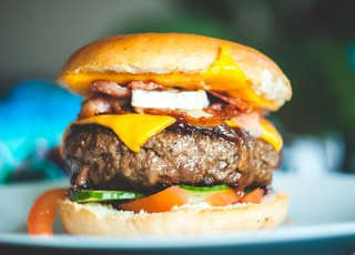 close-up photography of burger with patty and slice cheese