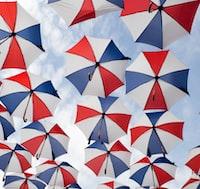 multicolored umbrella under blue sky