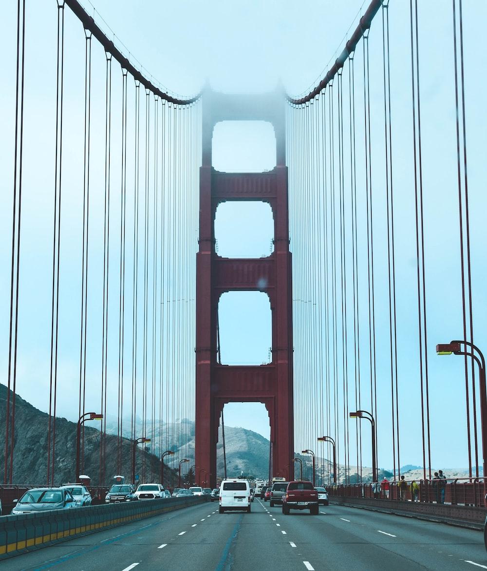 view of Golden Gate Bridge, California on road