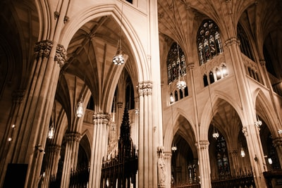 white cathedral ceiling st. patrick teams background