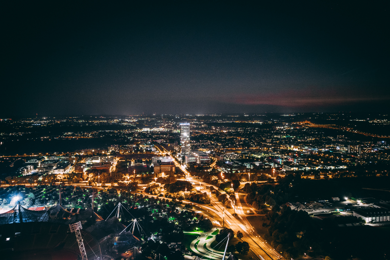 bird's-eye photography of city during nighttime