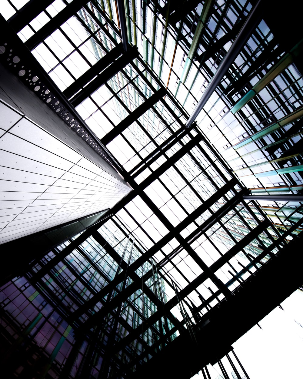worms eyeview of glass building