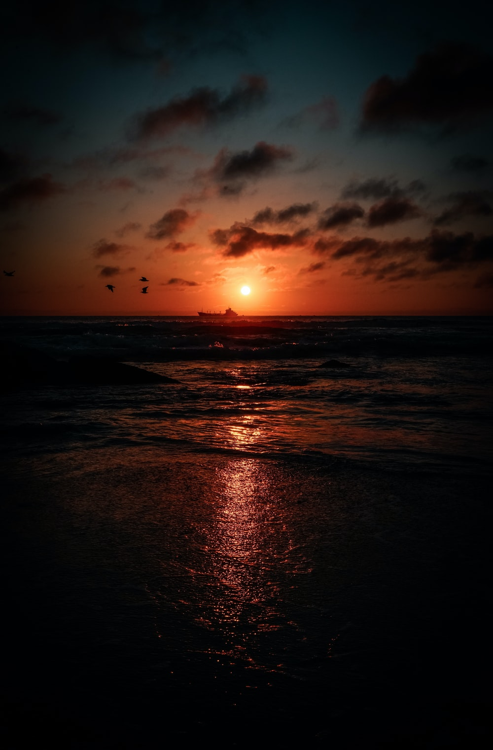 birds flying over wavy ocean during sunset