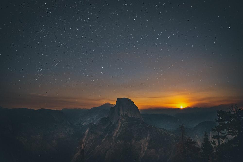 mountain ranges at sunset