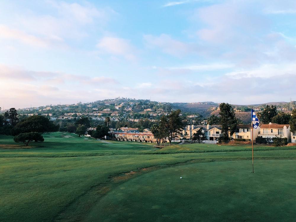 landscape photography of golf field