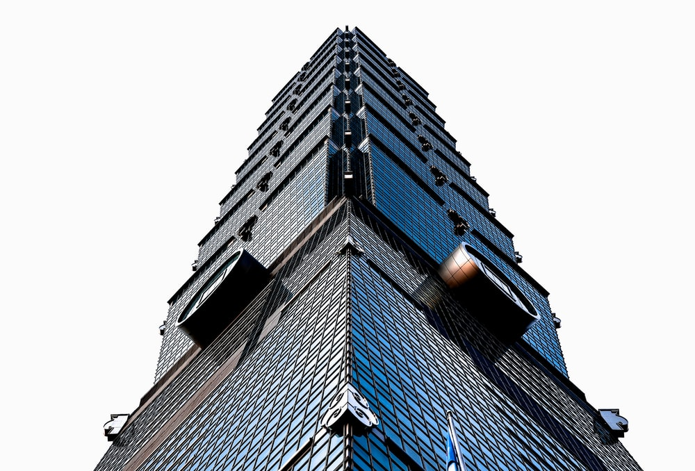 worm's-eye-view of glass building
