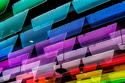 assorted-color ceiling decor lot spectrum teams background